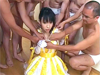 Cute honey gets six fountains of spunk unloaded all over her face